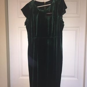 Green faux velvet holiday/cocktail dress